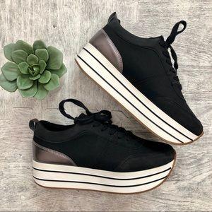 Zara Basic platform sneakers black white stripe 8